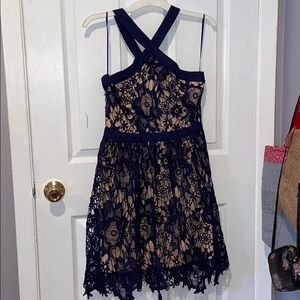 Francesca's Navy Blue Lace Dress